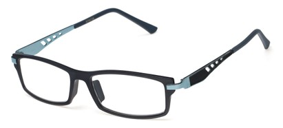 Angle of The Ralston in Black/Blue, Women's and Men's Rectangle Reading Glasses