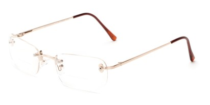 Angle of The McKinley Bifocal in Gold, Women's and Men's Rectangle Reading Glasses