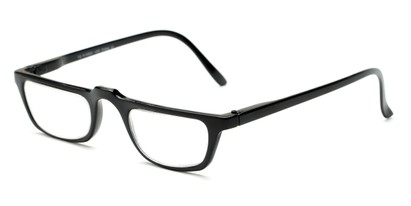 Angle of The Milton in Black, Women's and Men's Rectangle Reading Glasses