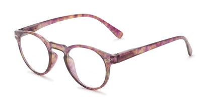 Angle of The Minnie Bifocal in Purple Glitter, Women's Round Reading Glasses