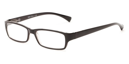 Angle of The Mitchell in Black, Women's and Men's Rectangle Reading Glasses