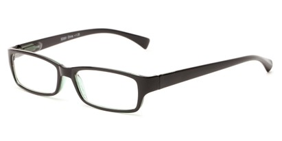 Angle of The Mitchell in Black/Green, Women's and Men's Rectangle Reading Glasses