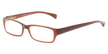 Angle of The Mitchell in Brown, Women's and Men's Rectangle Reading Glasses