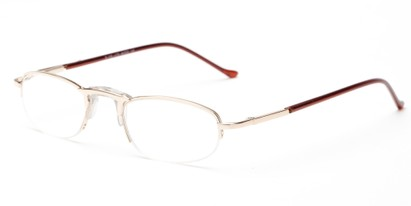 Angle of The Murphy in Gold, Women's and Men's Oval Reading Glasses