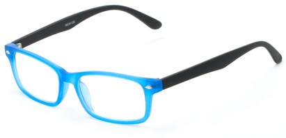 Angle of The Lolita in Neon Blue, Women's and Men's Rectangle Reading Glasses
