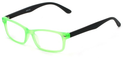 Angle of The Lolita in Neon Green, Women's and Men's Rectangle Reading Glasses