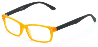 Angle of The Lolita in Neon Orange, Women's and Men's Rectangle Reading Glasses