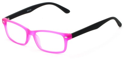 Angle of The Lolita in Neon Pink, Women's and Men's Rectangle Reading Glasses