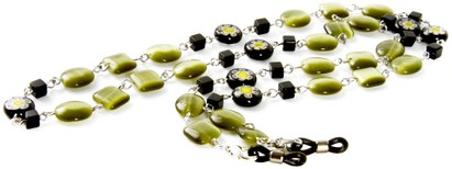 Angle of Wildflower Reading Glasses Chain in Green, Women's and Men's