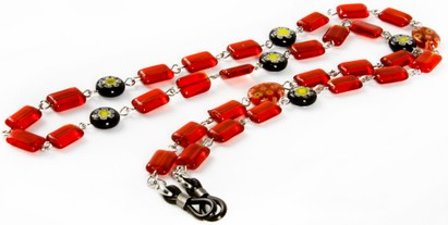 Angle of Wildflower Reading Glasses Chain in Red, Women's and Men's