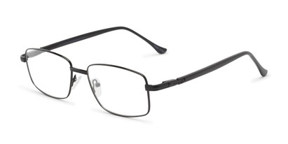 Angle of The Peter Customizable Reader in Black/Black, Women's and Men's Rectangle Reading Glasses