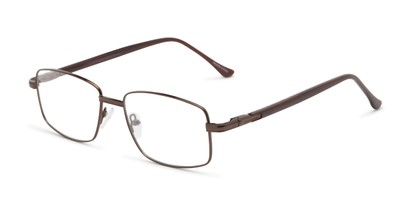 Angle of The Peter Customizable Reader in Bronze/Brown, Women's and Men's Rectangle Reading Glasses