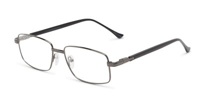 Angle of The Peter Customizable Reader in Silver/Black, Women's and Men's Rectangle Reading Glasses