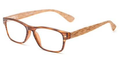 Angle of The Oliver in Brown Stripe/Wood Look, Women's and Men's Retro Square Reading Glasses