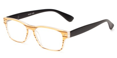 Angle of The Oliver in Tan Wood Look/Black, Women's and Men's Retro Square Reading Glasses