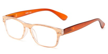 Angle of The Oliver in Brown Wood Look/Brown, Women's and Men's Retro Square Reading Glasses