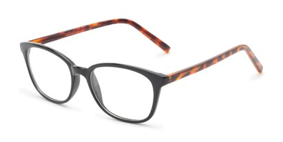 Angle of The Haven Customizable Reader in Black/Tortoise, Women's and Men's Retro Square Reading Glasses
