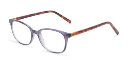 Angle of The Haven Customizable Reader in Purple/Tortoise, Women's and Men's Retro Square Reading Glasses