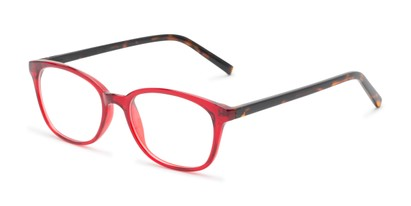 Angle of The Haven Customizable Reader in Red/Tortoise, Women's and Men's Retro Square Reading Glasses