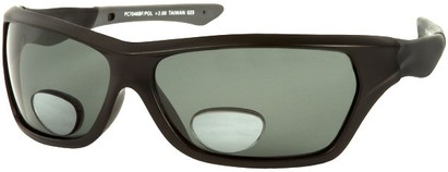 Angle of The Ontario Polarized Bifocal Reading Sunglasses in Glossy Black Frame with Smoke Lenses, Women's and Men's