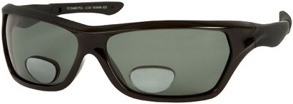 Angle of The Ontario Polarized Bifocal Reading Sunglasses in Matte Black Frame with Smoke Lenses, Women's and Men's