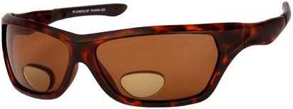 Angle of The Ontario Polarized Bifocal Reading Sunglasses in Tortoise Frame with Amber Lenses, Women's and Men's