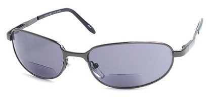 Angle of The Lewis Bifocal Reading Sunglasses in Glossy Grey, Women's and Men's