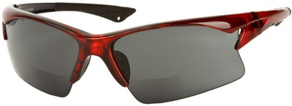Angle of The Phoenix Bifocal Reading Sunglasses in Red with Smoke, Women's and Men's Sport & Wrap-Around Reading Sunglasses