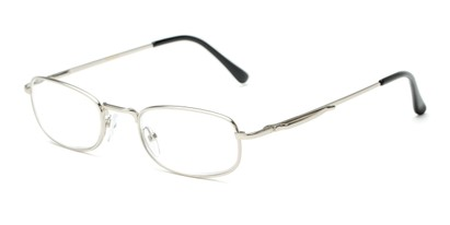 Angle of The Robert in Silver, Women's and Men's Rectangle Reading Glasses