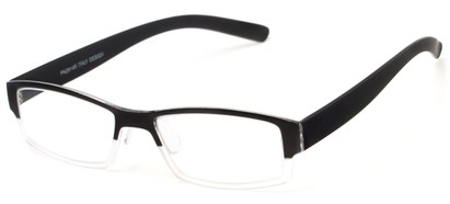 Angle of The Lakeview in Black/Clear, Women's and Men's Rectangle Reading Glasses