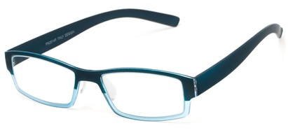 Angle of The Lakeview in Blue Fade, Women's and Men's Rectangle Reading Glasses
