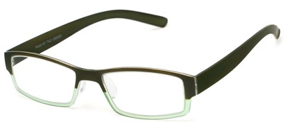 Angle of The Lakeview in Green Fade, Women's and Men's Rectangle Reading Glasses
