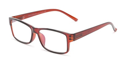 Angle of The Grover Multifocal Computer Reader in Brown, Women's and Men's Rectangle Reading Glasses