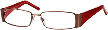 Angle of The Barcelona in Bronze/Red, Women's and Men's Rectangle Reading Glasses