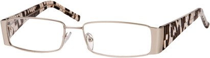Angle of The Barcelona in Silver/Black/Gold, Women's and Men's Rectangle Reading Glasses