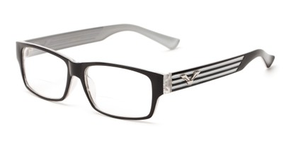 Angle of The Parker Bifocal in Black and Light Grey, Women's and Men's Retro Square Reading Glasses