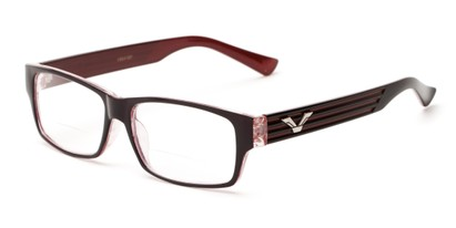 Angle of The Parker Bifocal in Black and Red, Women's and Men's Retro Square Reading Glasses