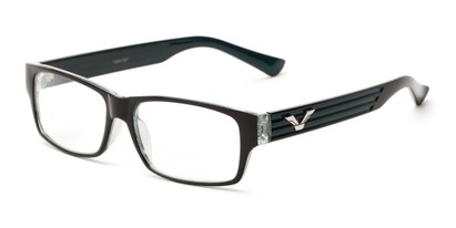 Angle of The Parker Bifocal in Black and Teal, Women's and Men's Retro Square Reading Glasses