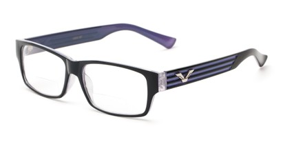 Angle of The Parker Bifocal in Blue and Purple, Women's and Men's Retro Square Reading Glasses