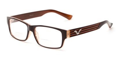 Angle of The Parker Bifocal in Brown and Orange, Women's and Men's Retro Square Reading Glasses