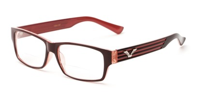 Angle of The Parker Bifocal in Red and Pink, Women's and Men's Retro Square Reading Glasses
