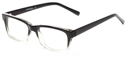 Angle of The Maple Customizable Reader in Black Fade, Women's and Men's Retro Square Reading Glasses