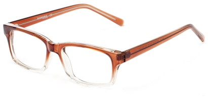 Angle of The Maple Customizable Reader in Brown Fade, Women's and Men's Retro Square Reading Glasses