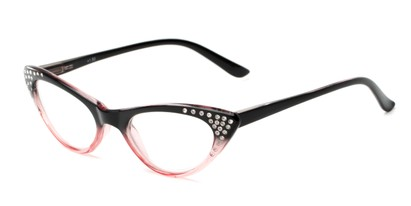 Angle of The Paulina in Black/Pink Fade, Women's Cat Eye Reading Glasses
