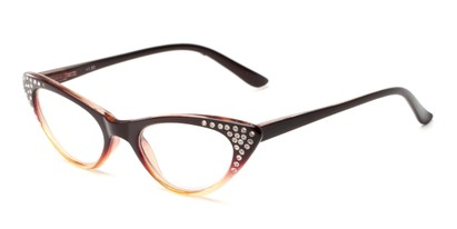 Angle of The Paulina in Brown/Yellow Fade, Women's Cat Eye Reading Glasses