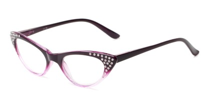 Angle of The Paulina in Purple Fade, Women's Cat Eye Reading Glasses