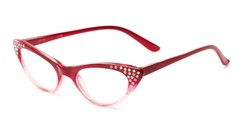 Angle of The Paulina in Red Fade, Women's Cat Eye Reading Glasses