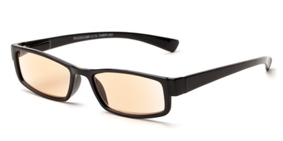 Angle of The Pike Place Computer Reader in Black with Amber, Women's and Men's Rectangle Reading Glasses