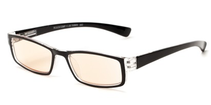 Angle of The Pike Place Computer Reader in Black/Clear with Amber, Women's and Men's Rectangle Reading Glasses