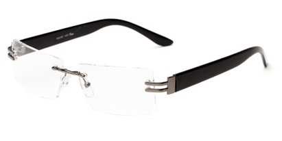 Angle of The Politician Bifocal in Grey and Black, Women's and Men's Rectangle Reading Glasses